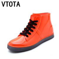 VTOTA Women Rain Boots Fashion Lace Up Casual Walking Outdoor Waterproof Rubber Shoes Ankle Boots For