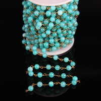 6mm,Sky Blue Malaysian Jade Round bead Rosary Chain,Light Jasper beads Link Brass Wire Wrapped Chain Bracelet Necklace Making