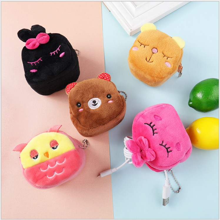 50pcs candy bags baby shower girl key pendant cartoon coin purse kids Plush toys favor bags