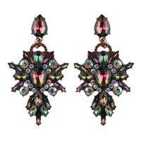 Best lady New Colorful Flower Big Brand Design Luxury Starburst Pendant Crystal Stud Earrings Gem Statement Earrings Jewelry 1