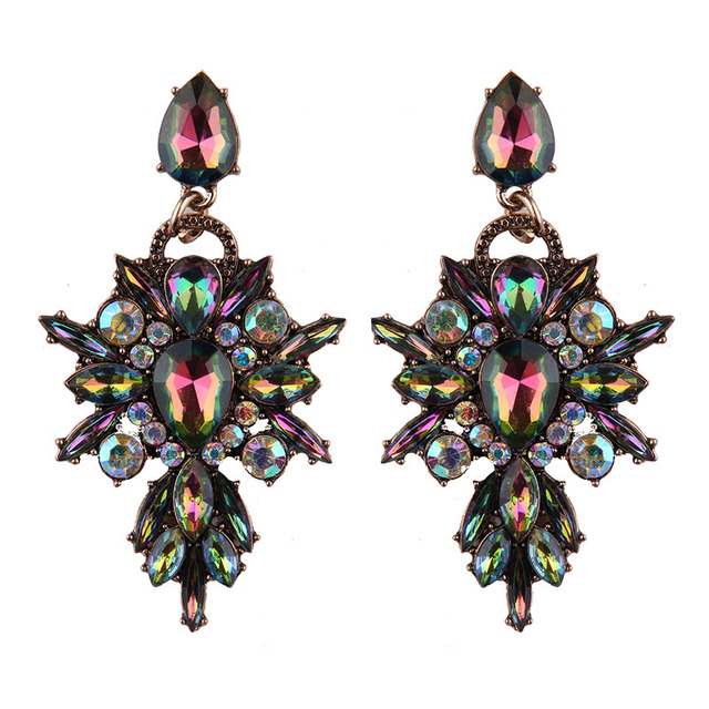 New Colorful Flower Big Brand Design Luxury Starburst Pendant Crystal Stud Earrings Gem Statement Earrings Jewelry