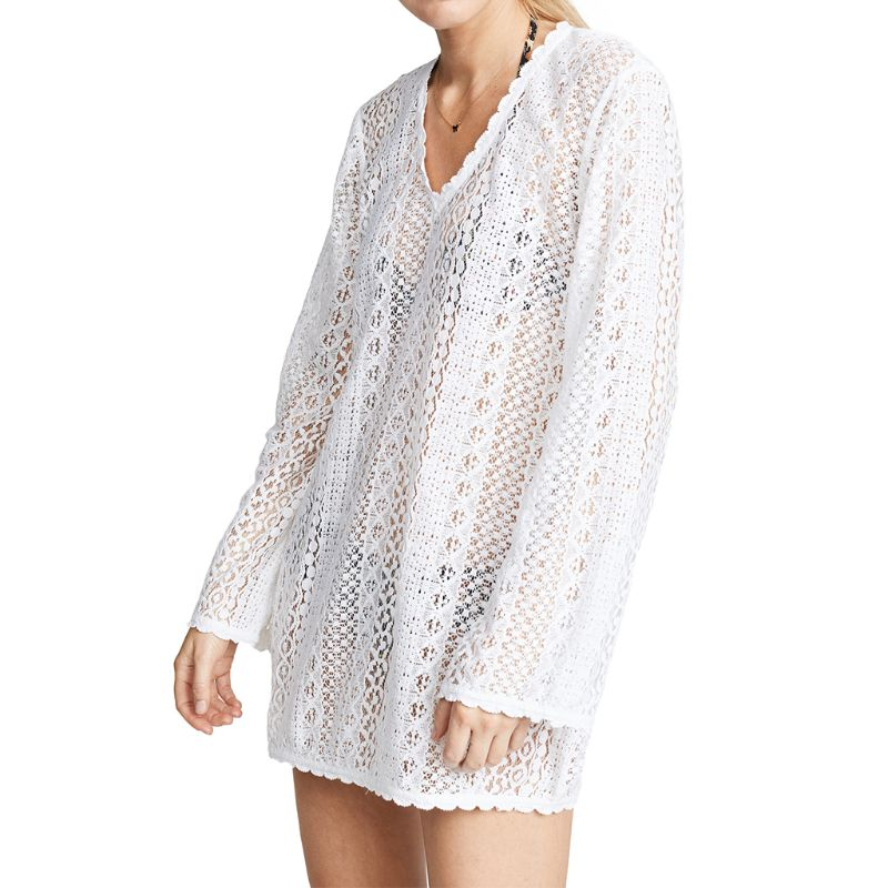 Womens Vacation Long Sleeve Beach Mini Dress Scalloped Wavy Trim Hollow Out Crochet Floral Lace Bikini Cover Up Deep V-Neck Semi