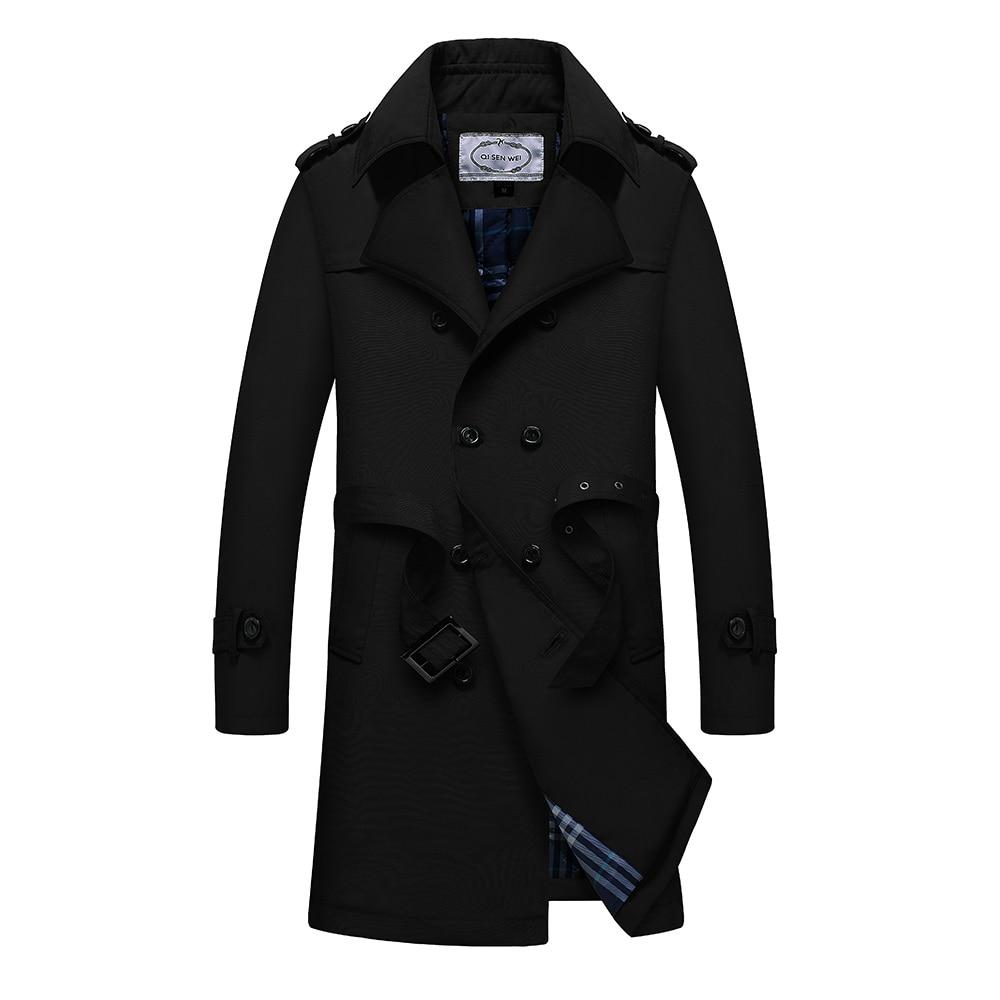 TAIZIQI, длинный Тренч, Мужская Утепленная верхняя одежда, мужские длинные пальто, ветровка, повседневная куртка, теплое пальто для мужчин - 4