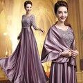 2016 O-pescoço A-line do Assoalho-Comprimento Longo Plus Size Mãe Dos Vestidos de Noiva Com Jaqueta Lace Mangas vestido de Noite Para casamento SC81