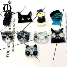 free shipping 1PCS cartoon brooch mix cat Icons On backpack Acrylic Badges Cartoon Pin Badges For Clothes Decoration Badge 16(China)