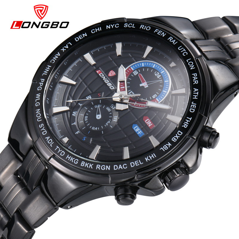 LONGBO Brand Military Men Stainless Steel Quartz Watches Men Clock Waterproof Amy Business Watch Men Relogio Masculino Clock
