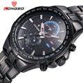 Longbo marca militar hombres de acero inoxidable relojes de cuarzo hombres reloj impermeable amy negocio reloj de los hombres relogio masculino reloj