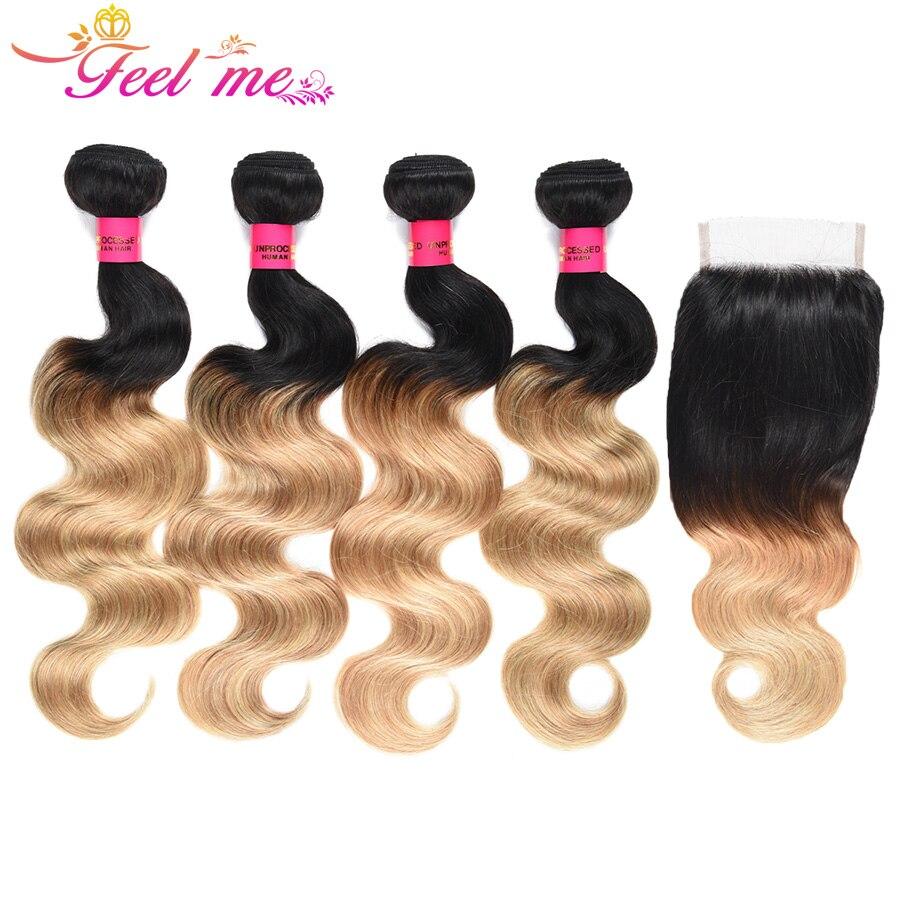 Feel Me волос бразильский Bodywave 4 Связки с закрытием человеческих волос 1b/27 Omber блондинка Связки с фронтальной застежка-remy