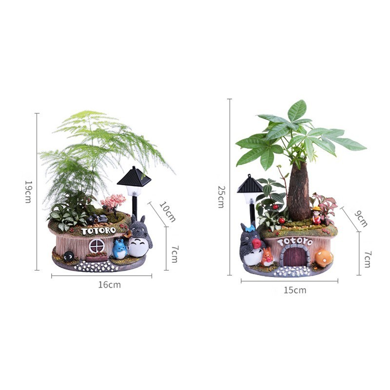 Image 2 - 1pcs Fortune tree flower pot With Light Small Bonsai Bamboo Plant Indoor Purification Air Plant Micro Landscape Desktop Ornament-in Flower Pots & Planters from Home & Garden