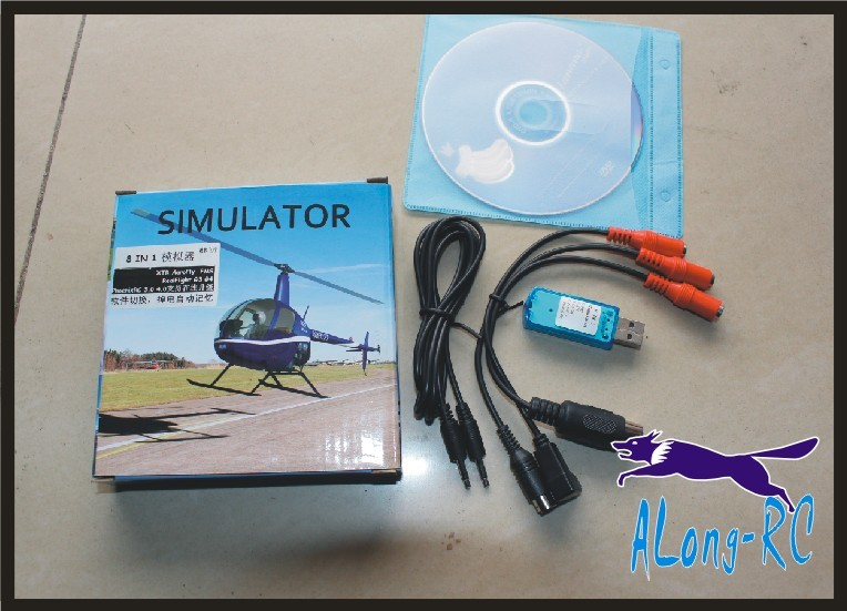 RC 8 in 1 Flight Simulator Cable USB Dongle For JR Futaba  WFLY  Walkera  FS  remoted (have reflex XTR  G5    aerofly )