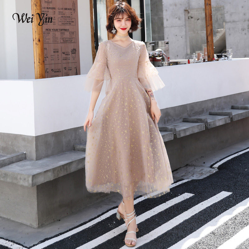 wei yin Plus Size   Evening     Dresses   2019 Elegant V-Neck Half Sleeves Tulle Formal   Evening   Gown Party   Dress   Robe De Soiree WY1755