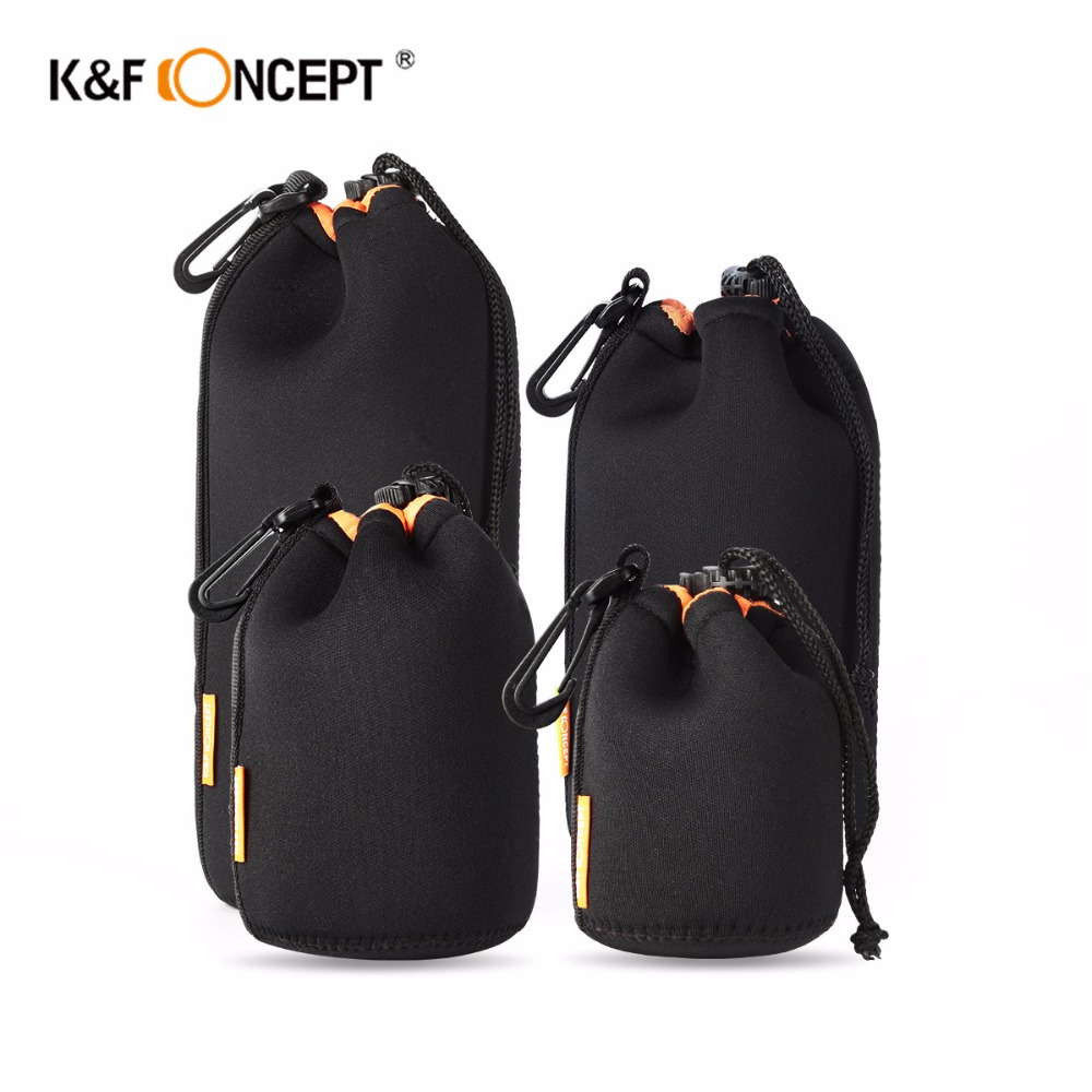 K&F CONCEPT 4pcs/lot Black Soft Protective Neoprene Lens Pouch Bag for Cannon Nikon Sony Camera