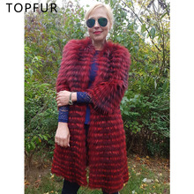 TOPFUR 2019 New Women Real Fur Coat Red Color Natural Silver Fox Luxury Winter Warm Jacket 100cm Long Wholsale