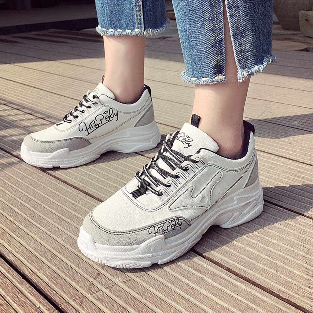 YOUYEDIAN Spring Sneakers Women Fashion Lace Up Casual Shoes Wedges Solid  Platform Sneakers Women 2018 Tenis e752eefefd2f