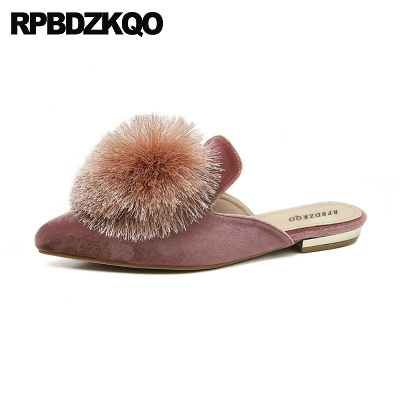 Latest China Sandals Slippers Pink 2018 Women Slip On Red Wine Pointed Toe Mules Velvet Fur Ladies Beautiful Flats Shoes Pom Pom philips e160 black