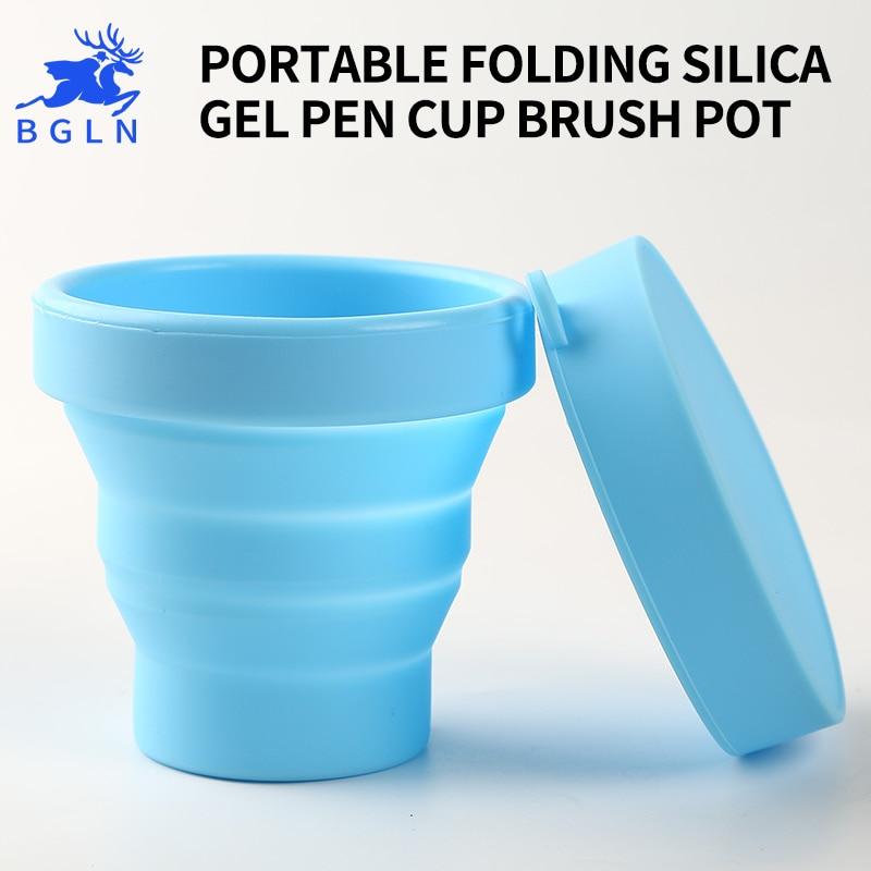 BGLN 1Piece Wash Brush Bucket Scalable Telescopic Art Wash Pen Cup Barrel Portable Watercolor Pen Cup Wash Brush Pot Art Suppl