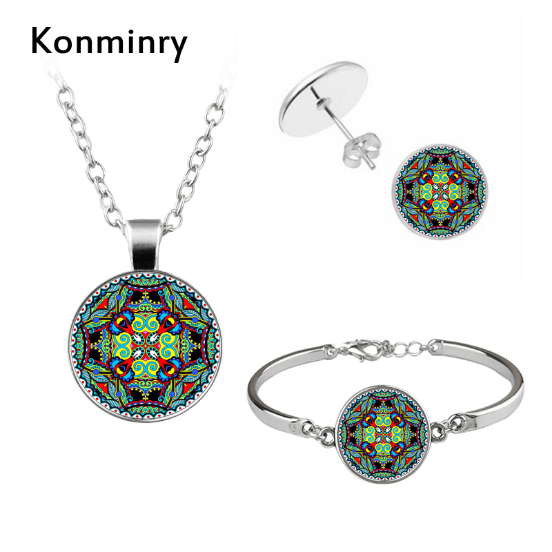 Konminry Buddhism Jewelry with Silver Plated Glass Cabochon Mandala Flower Shaped Necklace Earring and Bracelet Set for Women
