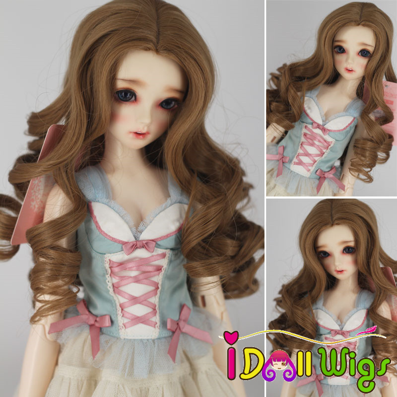 High Quality High Temperature Fiber Curly Hair Beautiful Long Brown Wigs for 1/3 1/4 1/6 bjd Dolls