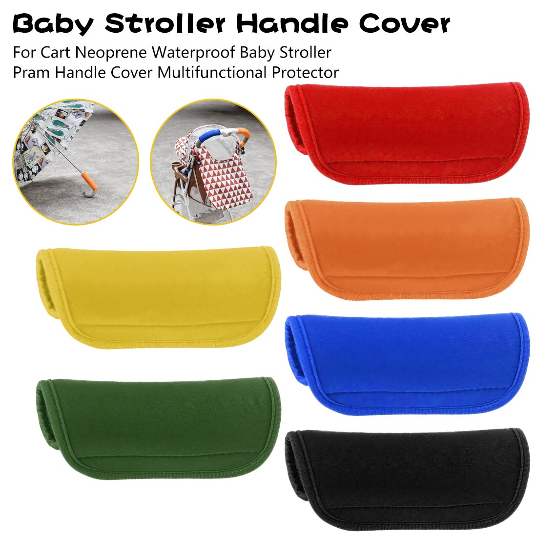 For Cart Neoprene Waterproof Baby Stroller Pram Handle Cover Multifunctional Protector Baby Stroller Handle Cover