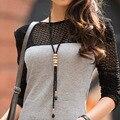 Exagerar longo pingente colares para as mulheres elegante preto do ouro do vintage colar de borla projeto waterdrop colares de presente # NL068
