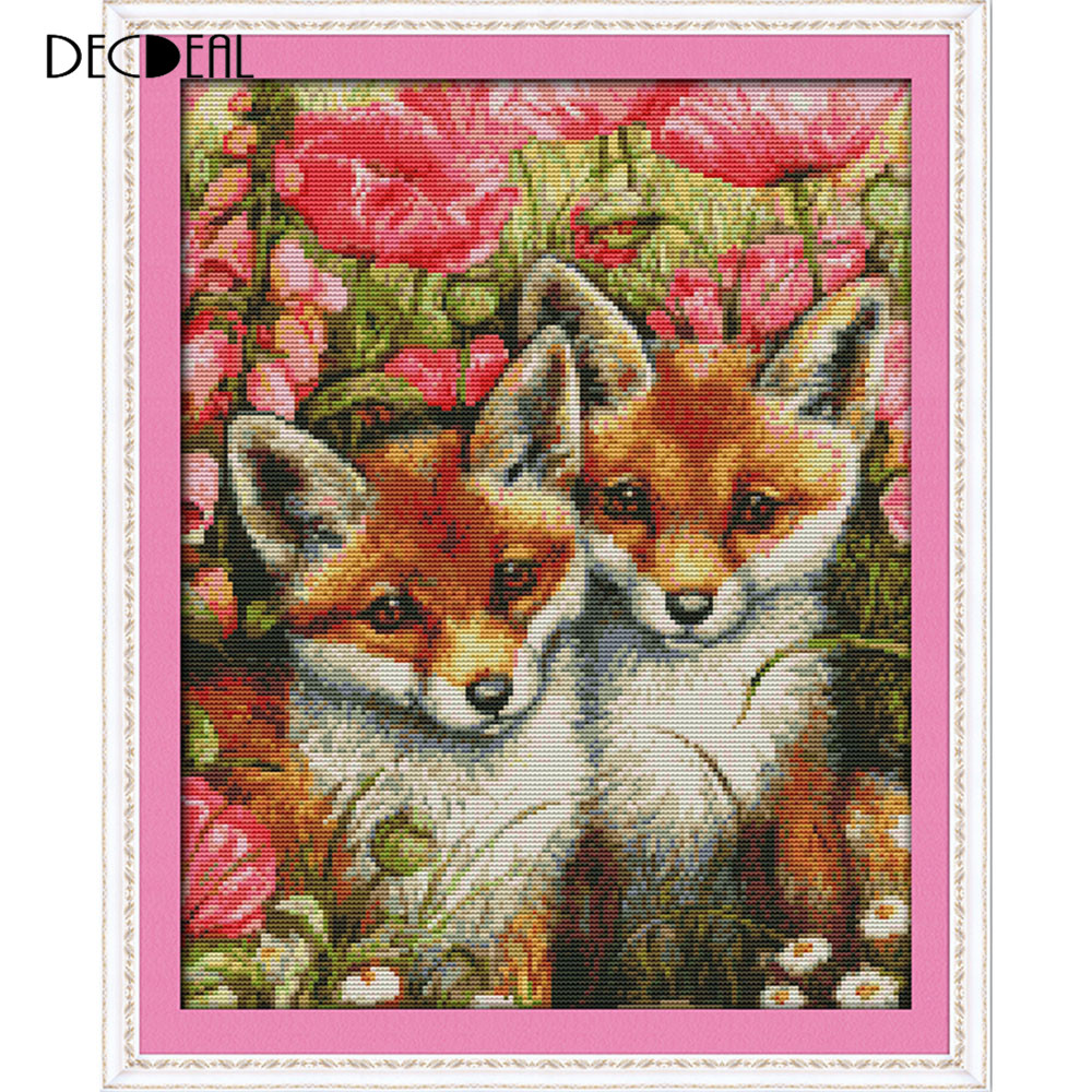 14CT Lovely Foxes Pattern Cross Stitching DIY Handmade