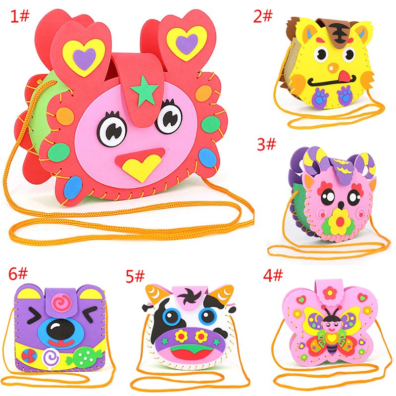 Interactive Educational Toys Lovely Animals Children Handmade Bags Multicolor EVA Foam Puzzles DIY Crafts For Kids