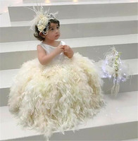 Stunning Ivory White Baby Girls Birthday Dress Jewel Neck Feather Sleeveless Ball Gown Flower Girl Dresses forWedding Any Size