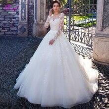 Fmogl Vestido de novia de manga larga, elegante, corte en A, cuello redondo Vintage, botón de talla grande, 2020