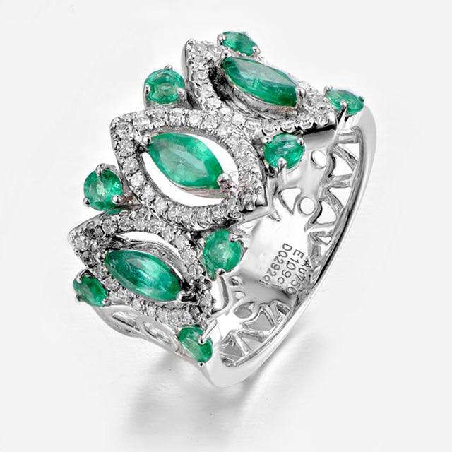 18 К золото натуральный изумруд кольцо зеленый Ювелирные изделия с  драгоценными камнями обручальное кольцо с бриллиантом ffc6a51095a