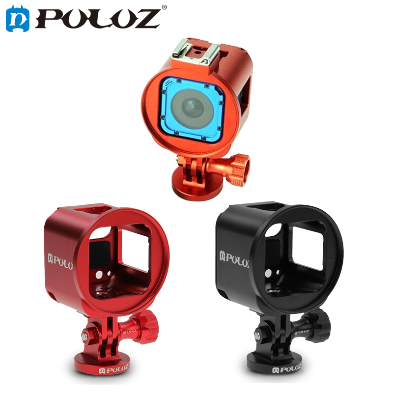 PULUZ Housing Case Aluminum Alloy Protective Cage for GoPro HERO4 HERO 4 Session With Metal Wrench Lens Cap Screw Tripod Adapter dualane aluminum alloy lens ring with screwdriver for gopro hero2 green