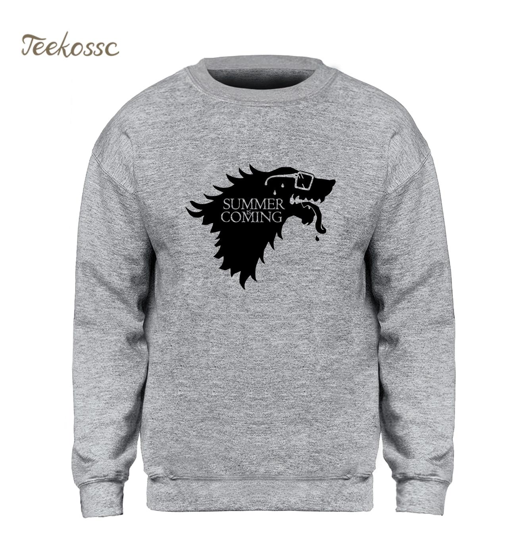 Game of Thrones Sweatshirt Men House Stark Winter Fell Hoodie Wolf Sweatshirts 2018 Winter Autumn Fleece Warm Sportswear Homme