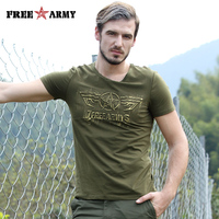Free Army T Shirt Male Top Quality Cotton Army Green Casual Printing Short Sleeve T Shirt