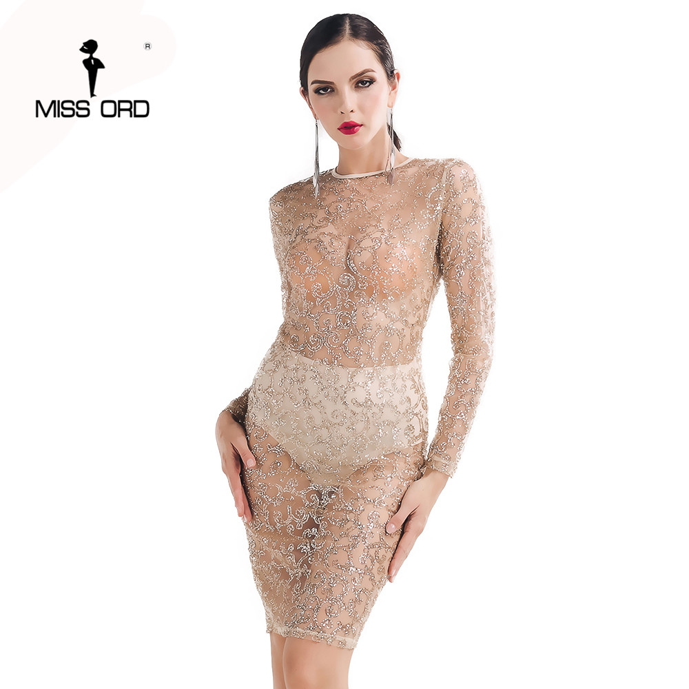 free shipping fashion 2017 sexy o necked long sleeved split gold color dress ft5130 - Gold Color Dress