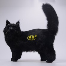big simulation cat toy black polyethylene & furs cat toy home decoration gift 32X13X38CM