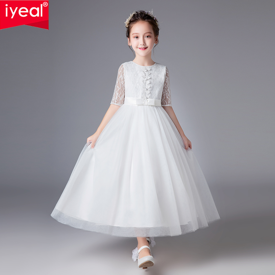 все цены на IYEAL Elegant Flower Girl Wedding Party Dresses with Sash Lace Appliques Ball Gown First Communion Dresses for Girls Kids 4-14Y