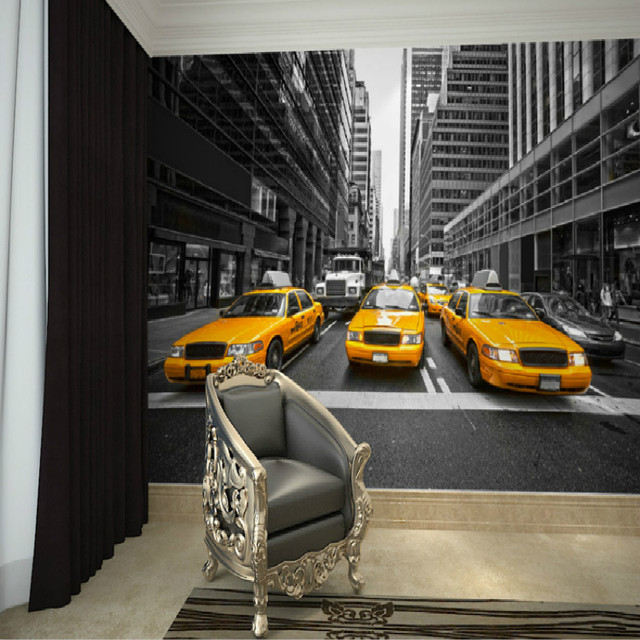Mural New York yellow cab wall of black and white TV background 3D