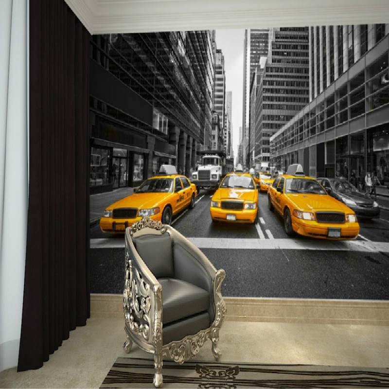 Mural New York yellow cab wall of black and white TV background 3D wallpaper bedroom 3D customization Large mural 3D wallpaper