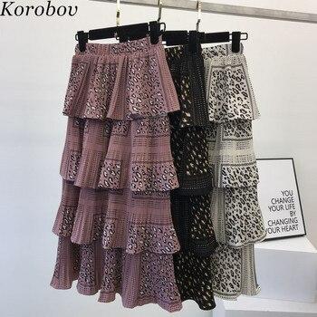 97605191eb Korobov Summer Leopard Print Women Cake Skirts Pleated Ruffles Midi Female  Tutu Skirt Vintage High Waist Mujer Saia 76829
