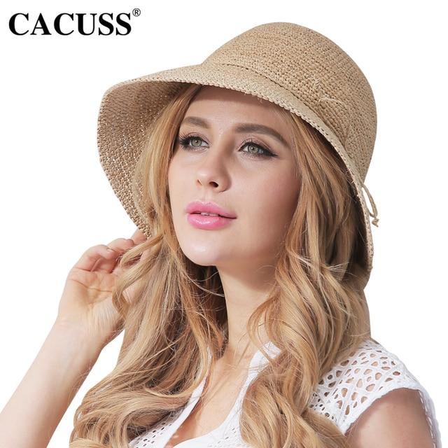 CACUSS Summer Straw Fedoras Hat Women Sun Hats Small Brim Beige Raffia  Straw Caps Girls Bow Cap Hat Hot Sale 893d60a81c9