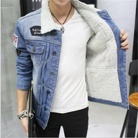 Winter Solid Thickened Velevt Denim Jackets Men Casual Jeans Coat Turn Down Coats Top Outwear