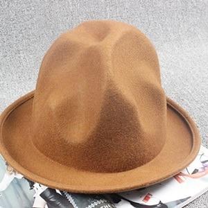 2017 new mountain hat Buffalo hat 100% wool felt Happy Hat celebrity style  fedora hats e49c219888a9
