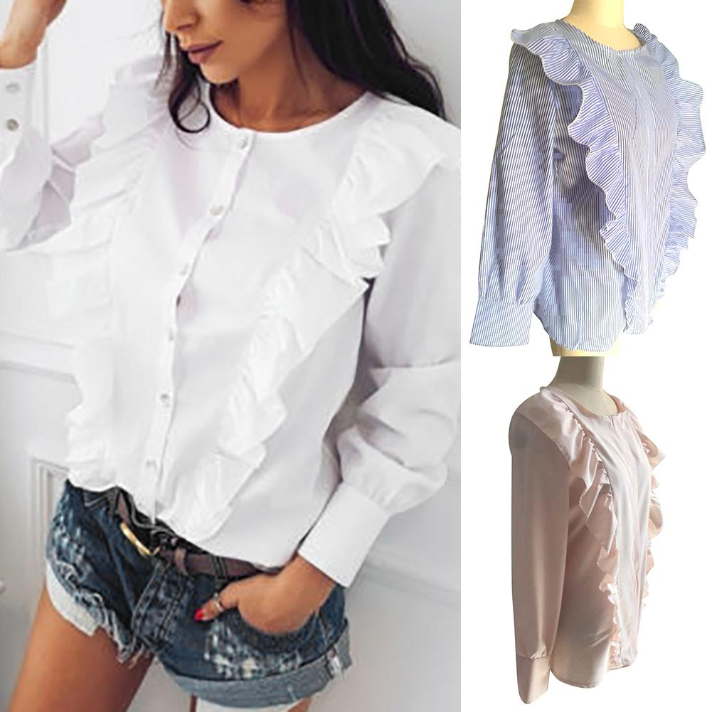 Hot New Fashion Women Shirt Frill Ruffle Long Sleeve Buttons Autumn Spring Ladies Blouse blouse