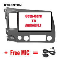 2.5D IPS 10.1 Big Screen ! 8 Octa core Android 8.1 Car DVD Player for Honda Civic 2006 2011 with Glonass GPS Radio Wifi DVR BT