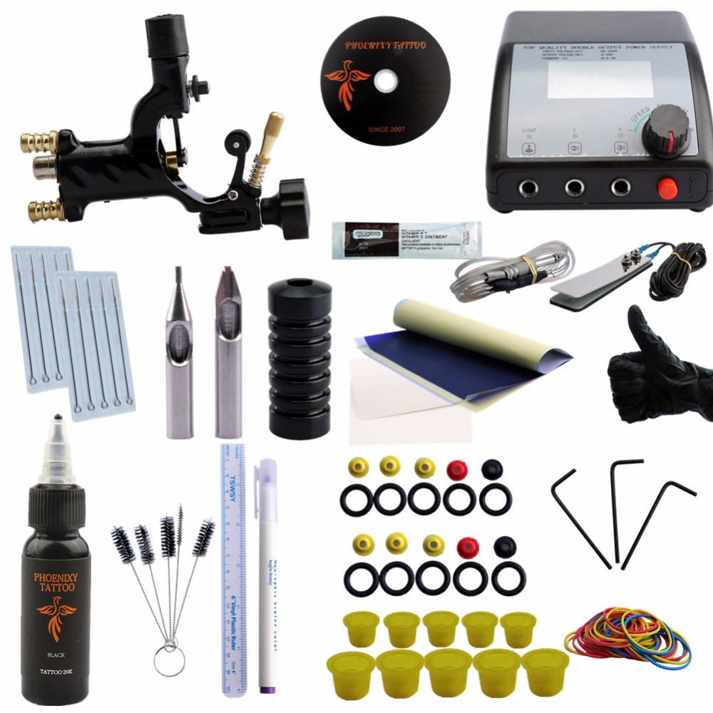 Professional Tattoo Kit Complete Rotary Tattoo Machine Gun Equipment Set Starter Kit 1 Gun Supply Body Art 30ml Black Tattoo Ink p80 panasonic super high cost complete air cutter torches torch head body straigh machine arc starting 12foot