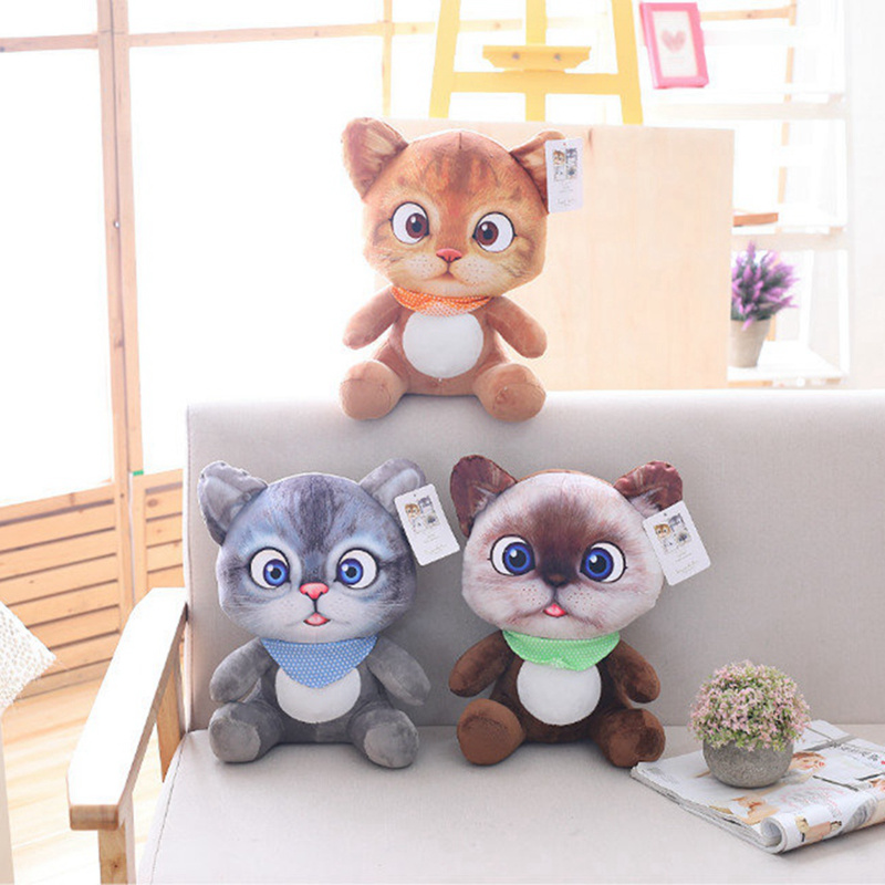 20cm Lovely Soft 3D Simulation Stuffed Cat Toys Double-side Seat Sofa Pillow Cushion Kawaii Plush Animal Cat Dolls Toys Gifts