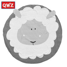 Nordic Style Baby Blanket Cotton Cartoon Lion Panda Round Newborn Crawling Mat Children's Play Mat Baby Room Decoration Blanket(China)
