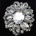 Vinttage Silver Tone Large Rhinestone Crystal Flower Brooch