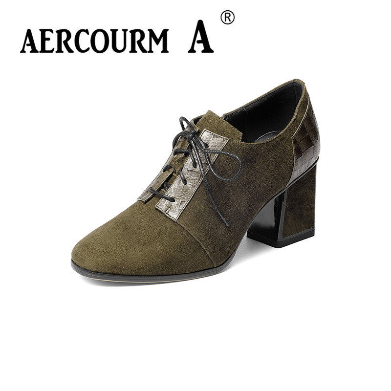 Aercourm A Lace Women Shoes Pumps 2017 New Autumn Round Toe Female Casual Square High Heels Shoes Platform Woman Size 34-42 H907 big size 11 12 elegant round toe lace up casual square heel women s shoes high heels pumps woman for women