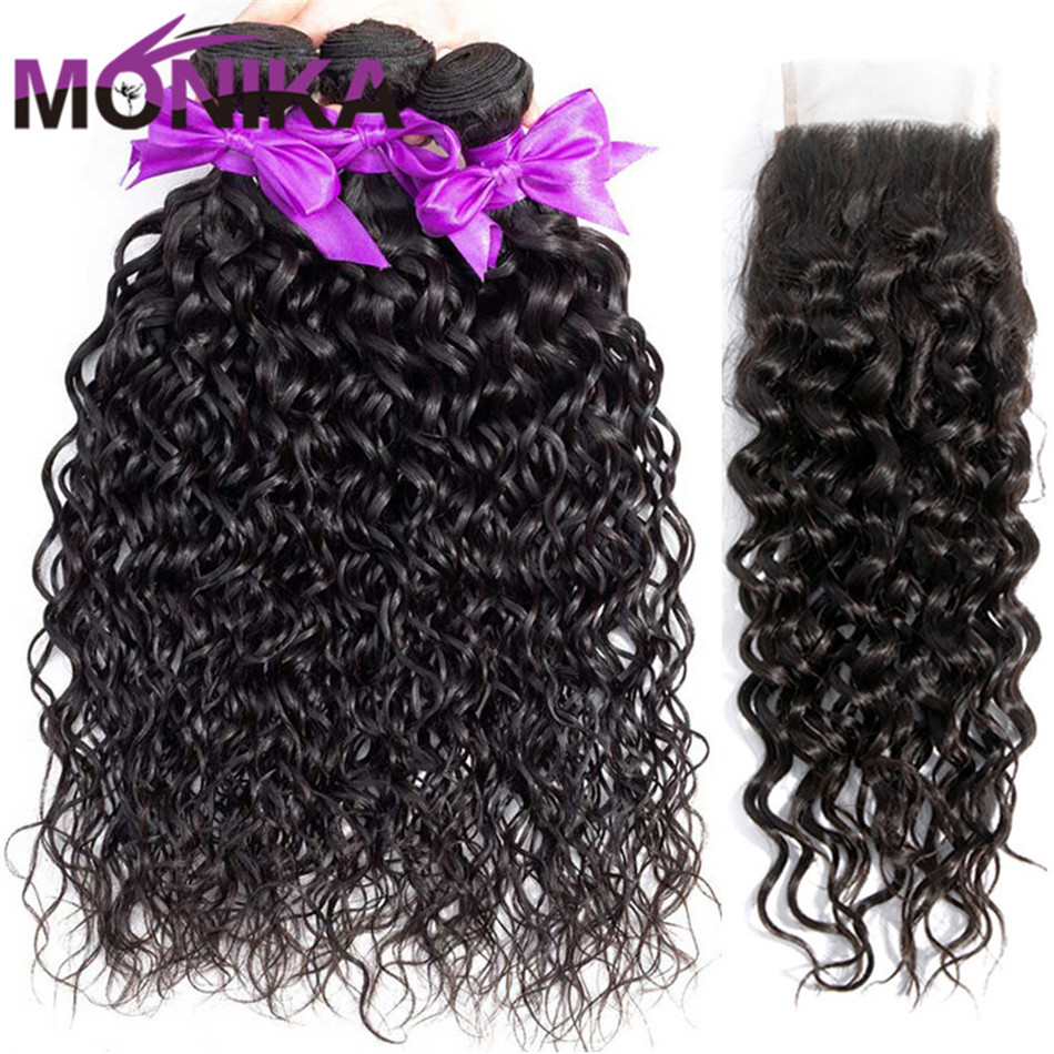 Monika Water Wave Bundles With Closure Malaysian Hair 4/3 Bundles With Closure WaterWave Non Remy Human Hair Bundle with Closure