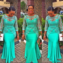 Turquoise African Mermaid Evening Dress 2018 Vintage Lace Nigeria Long Sleeves Prom Dresses Aso Ebi Style Party Gowns  1